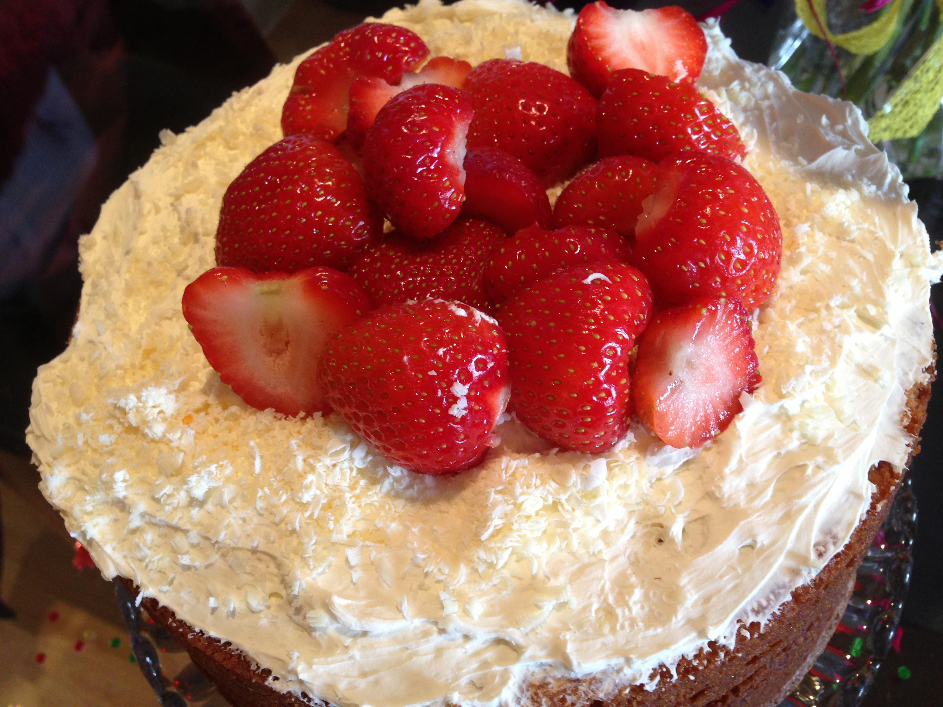 Strawberry and white chocolate cake