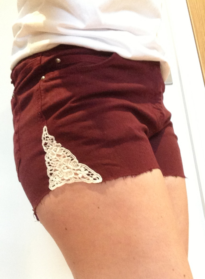 Lace insert denim shorts