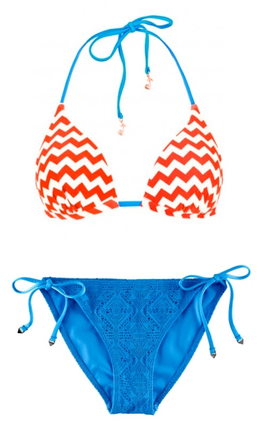 Orange and blue bikini