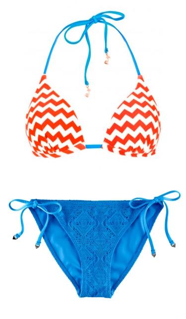 Orange and blue bikini