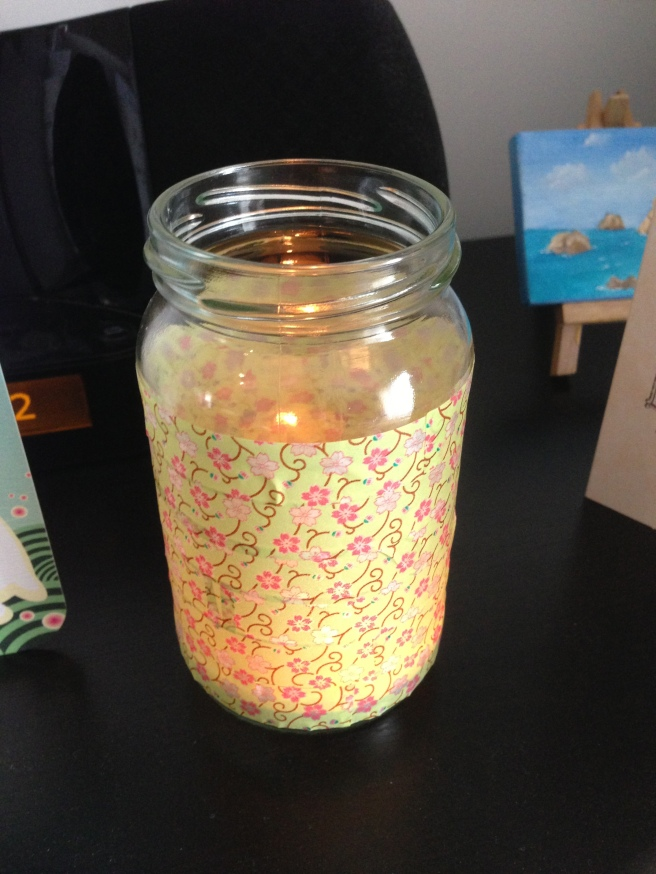 Jam jar candle holder