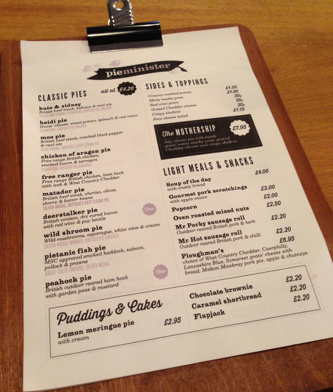 Pieminister menu