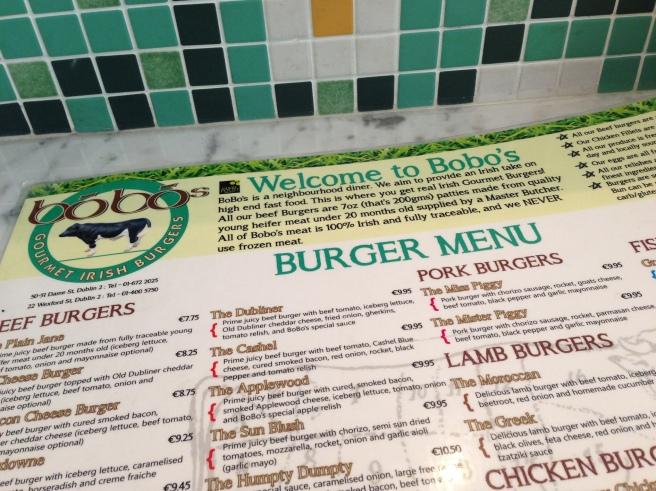 Bobo's Dublin menu