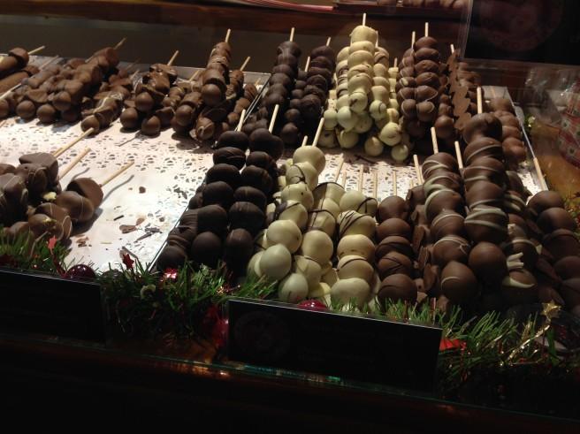 chocolate fruit skewers