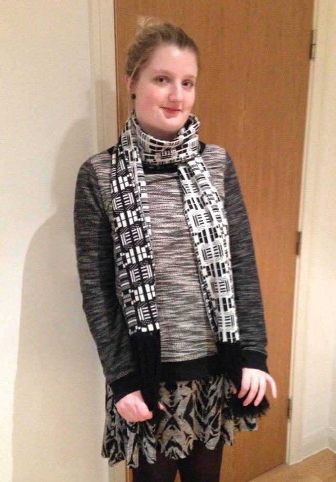 geometric monochrome scarf