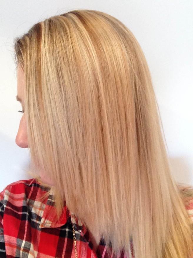 Shiny blonde hair