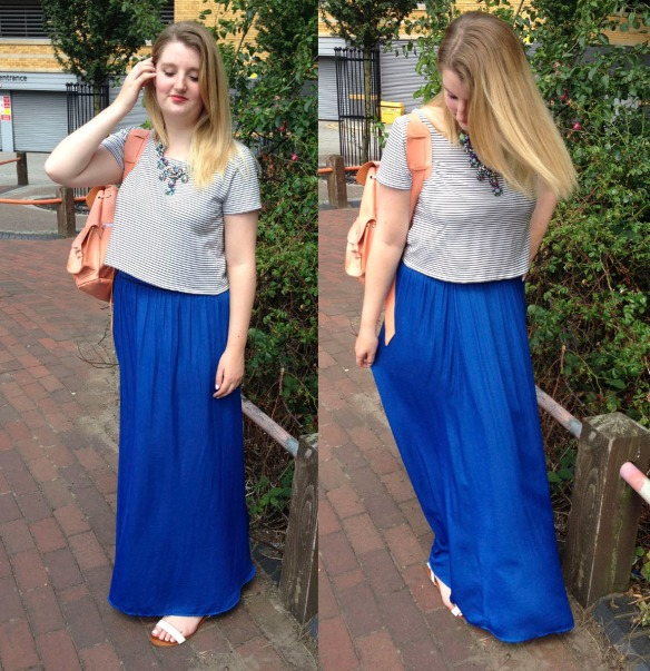 bright blue maxi outfit