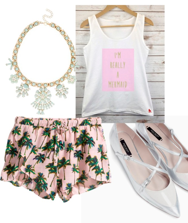 slogan vest with printed shorts