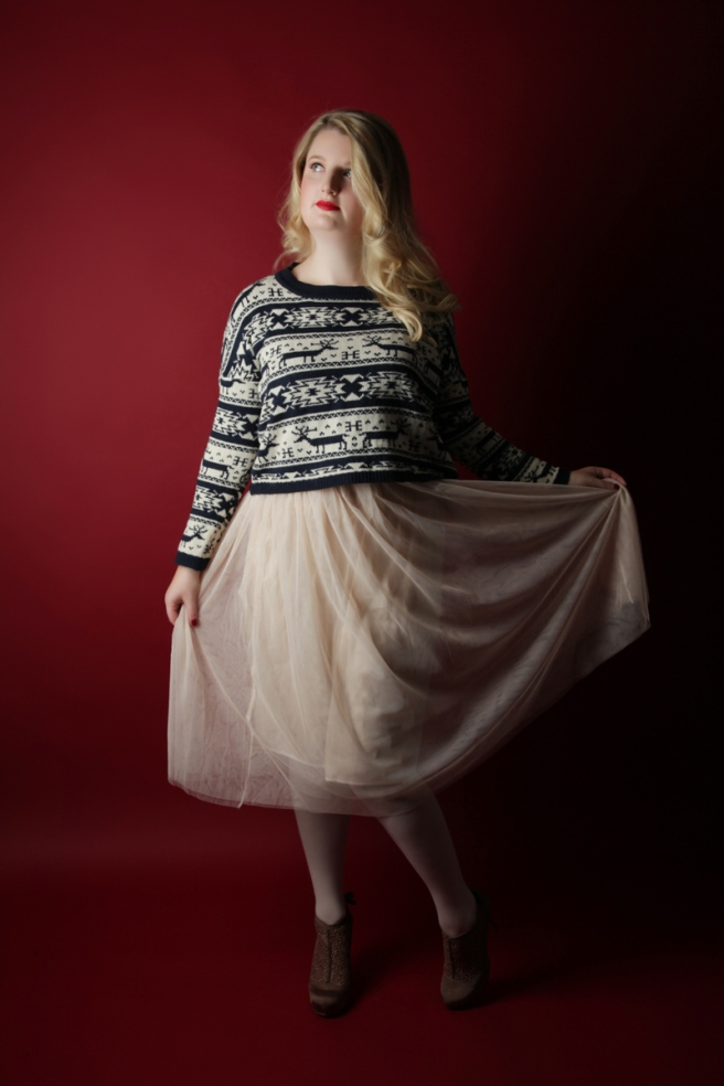 christmas jumper and tulle outfit