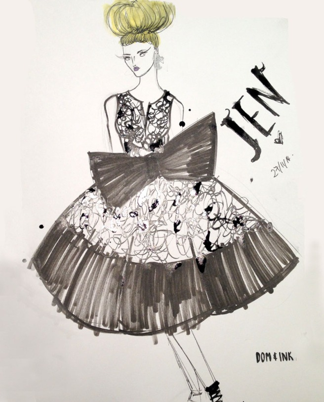 Blogger fashion illustration Dom and Ink