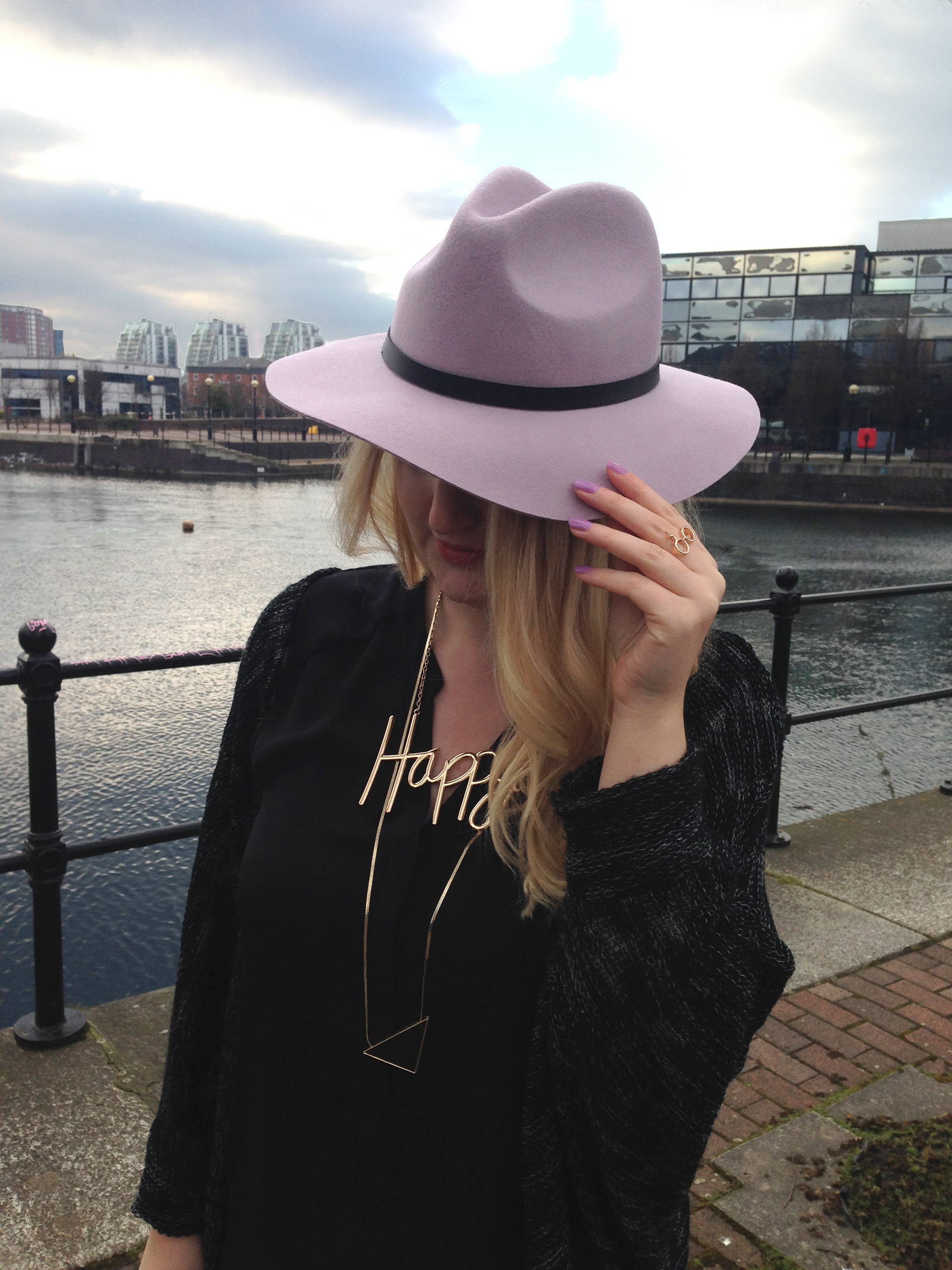 lilac trilby hat