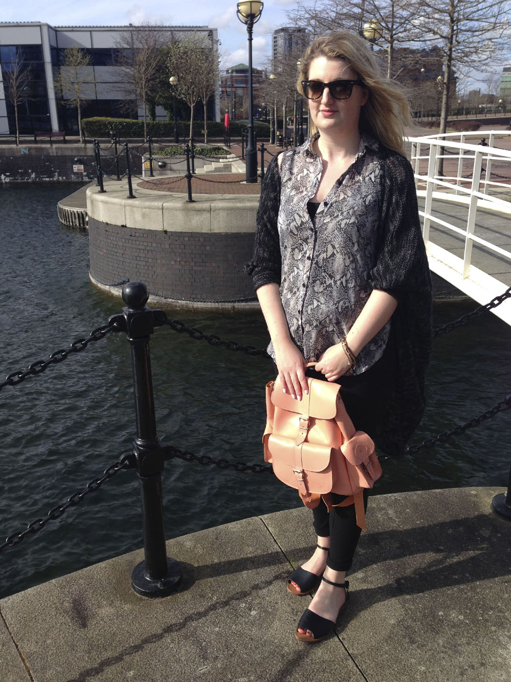 Spring outfit post in Salford Quays