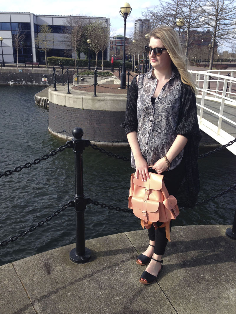 spring outfit with backpack
