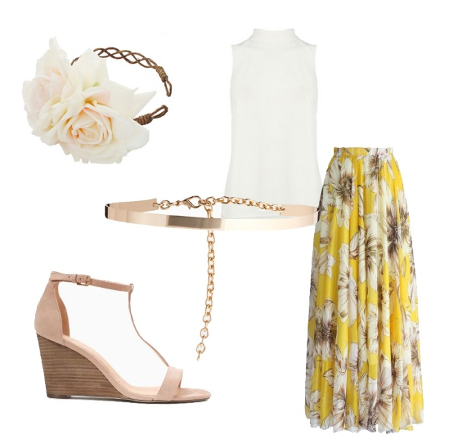 Maxi skirt wedding guest outfit