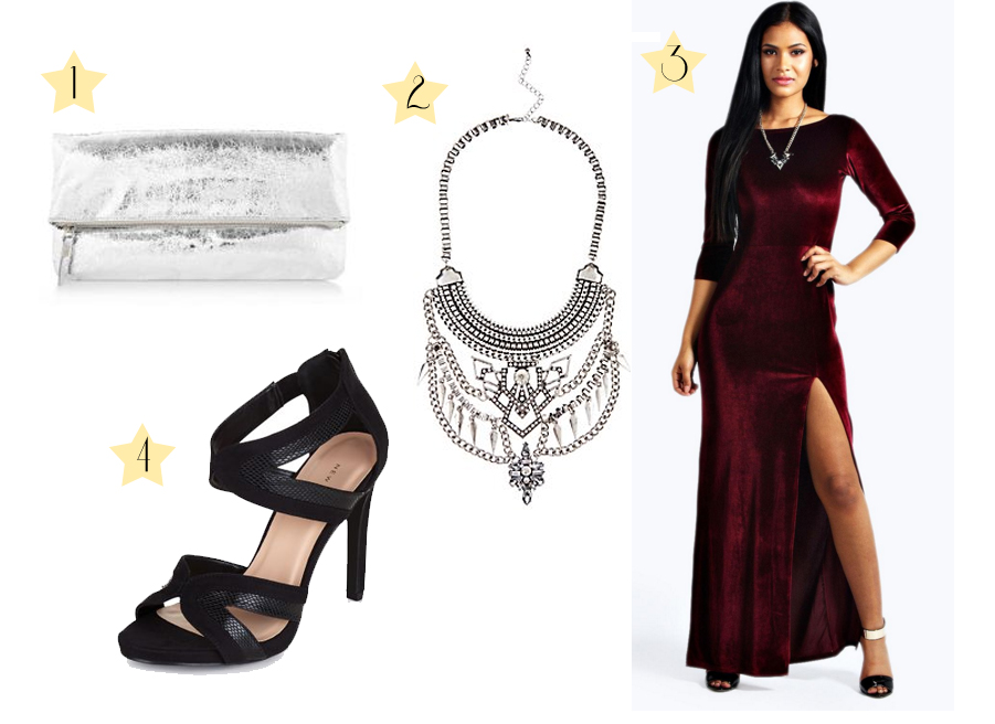 Party look - red velour dress