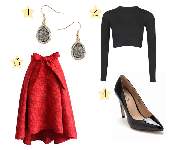Party outfit - full red skirt