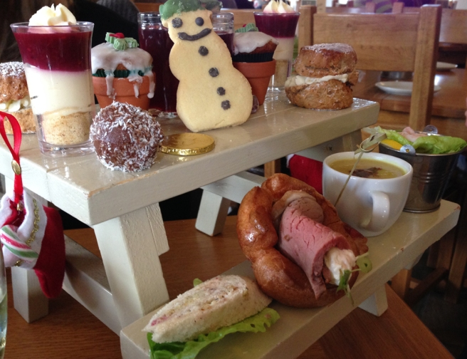The Garden Kitchen picnic bench Christmas afternoon tea
