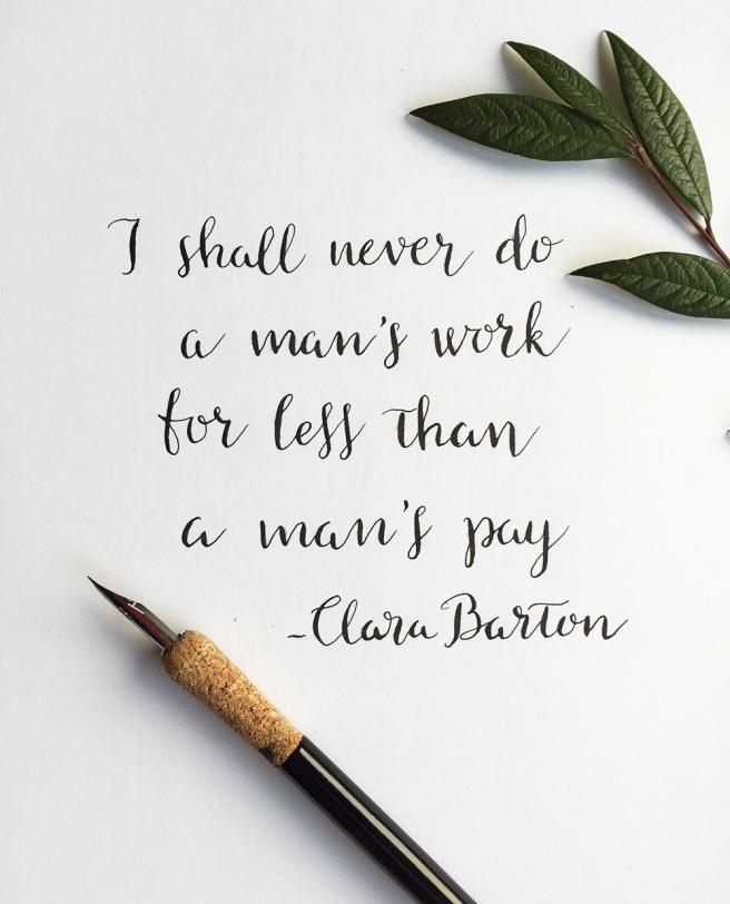 Clara Barton equal pay quote