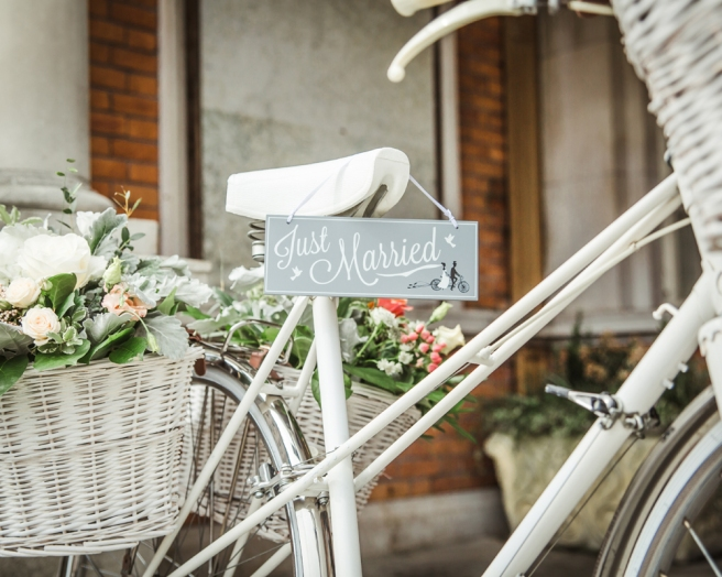 Wedding bicycle with flower baskets