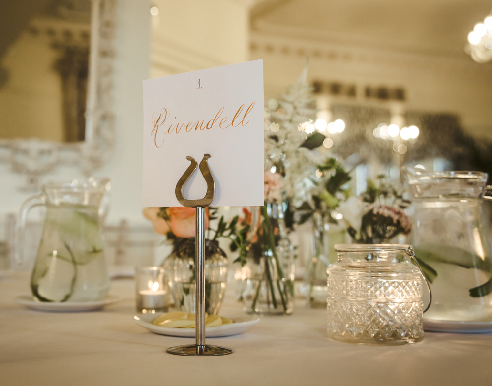 Simple calligraphy wedding table names