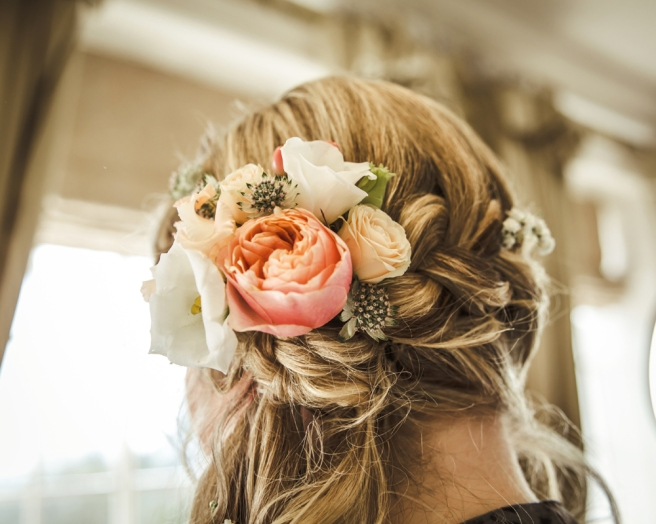 Boho wedding hair with flowers