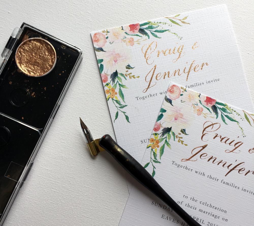 DIY wedding invitation calligraphy
