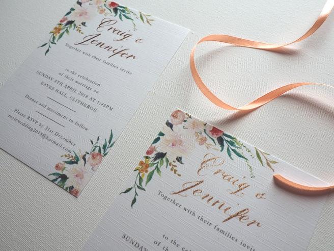 DIY calligraphy wedding invitation