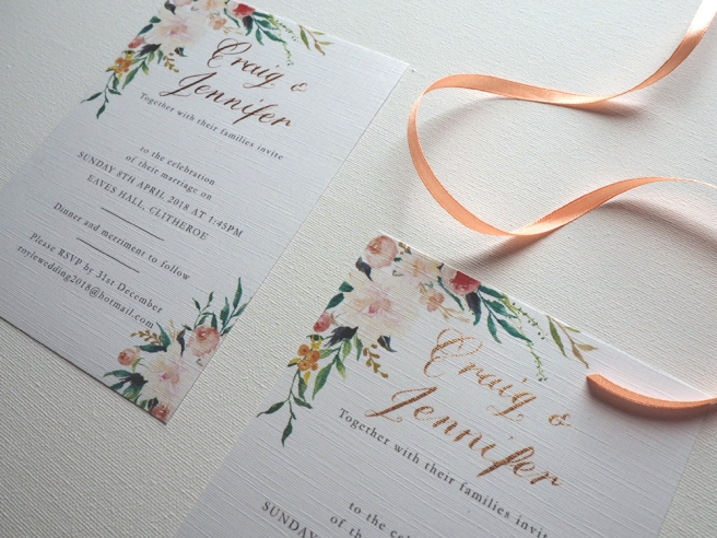 DIY calligraphy wedding invitation