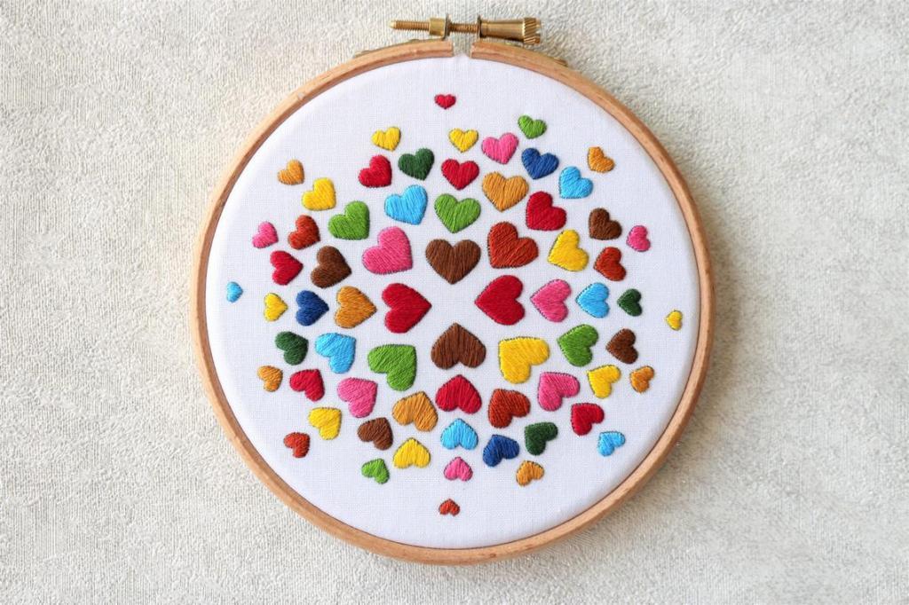 Rainbow Hearts embroidery kit