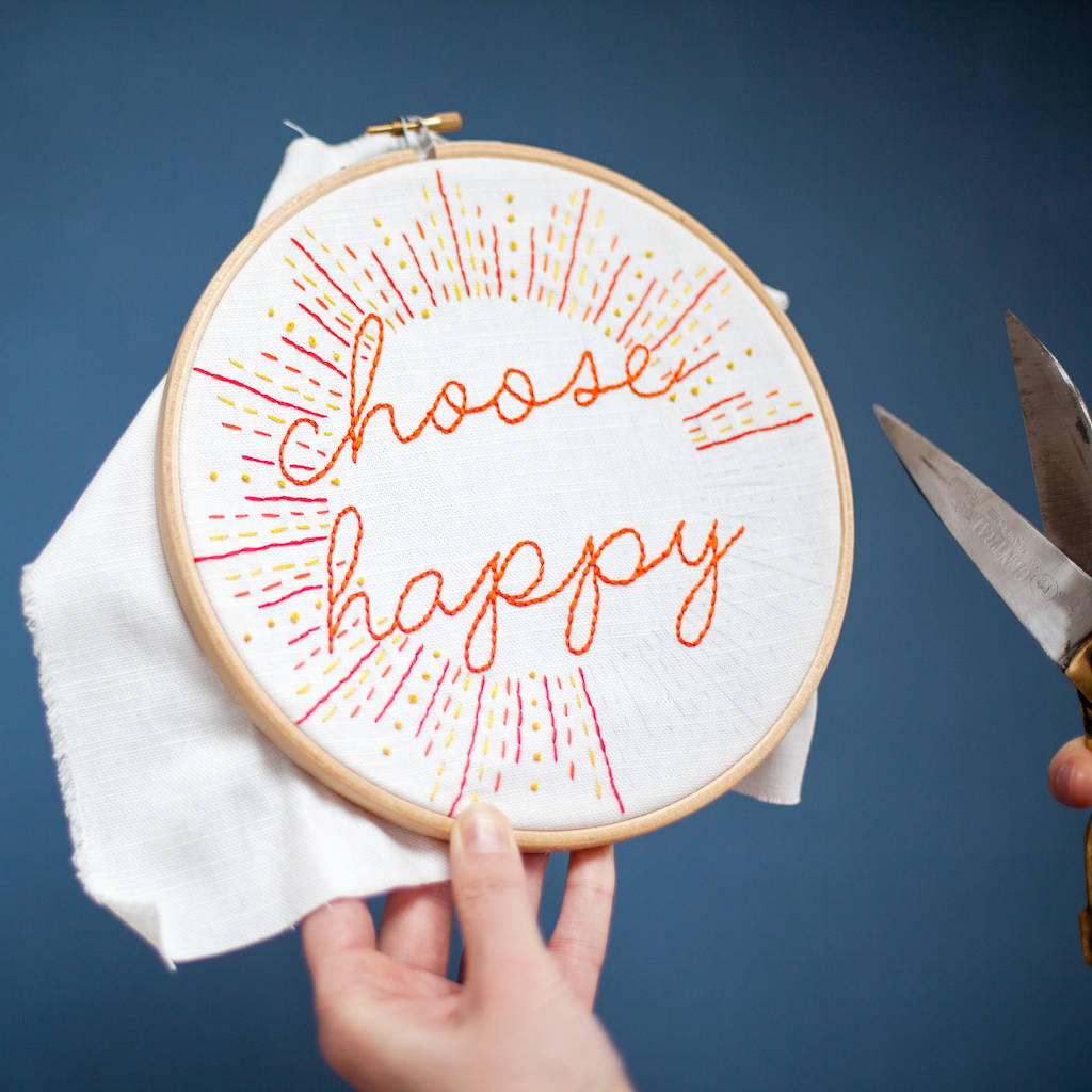 Happy quote embroidery craft kit