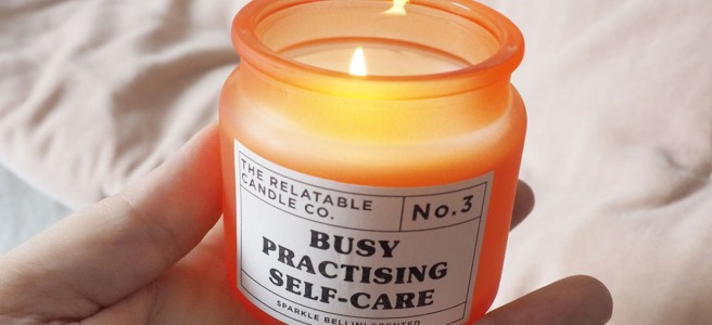 Relatable self care candle