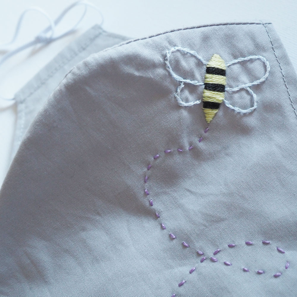 Embroidered bee face mask