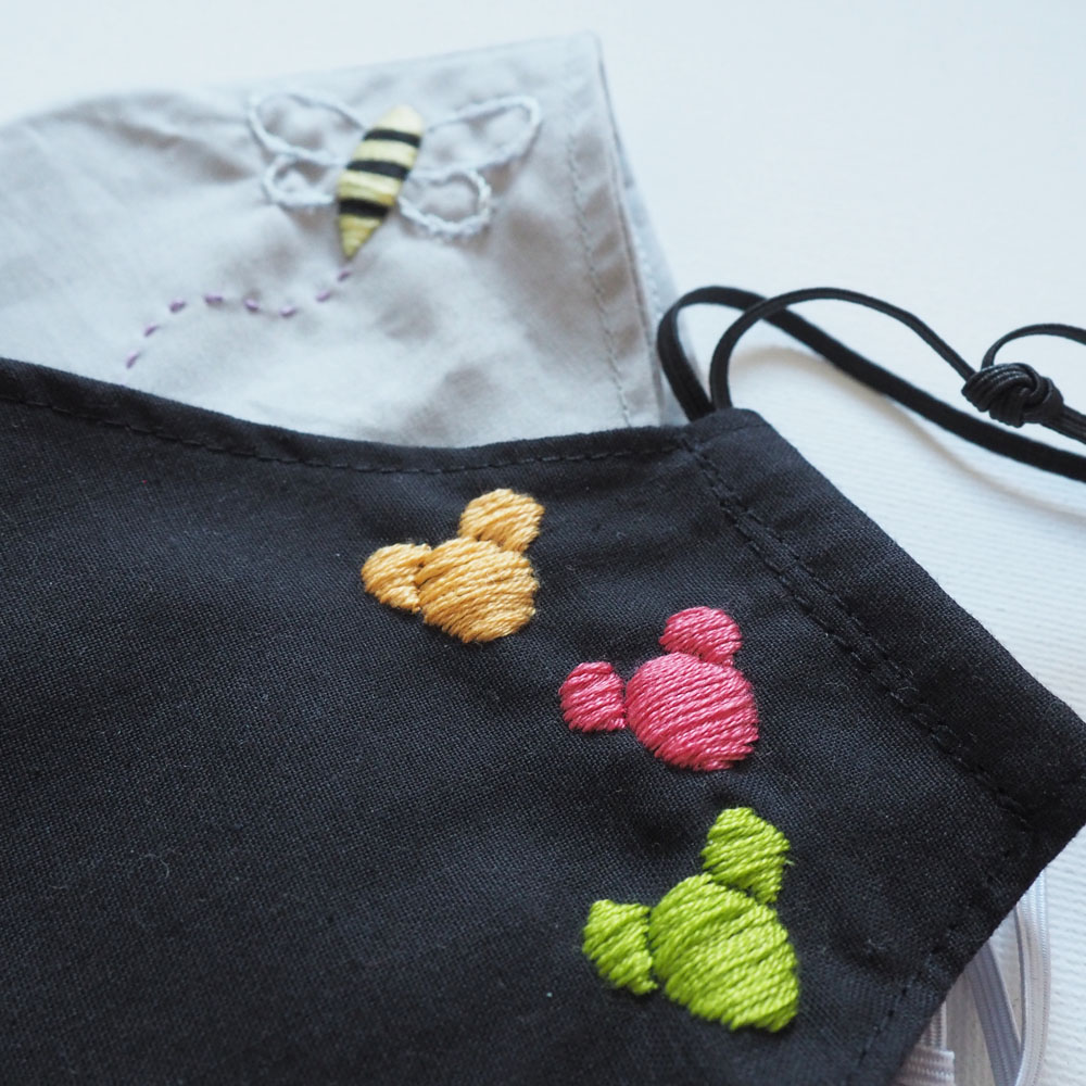 DIY embroidered cotton face masks