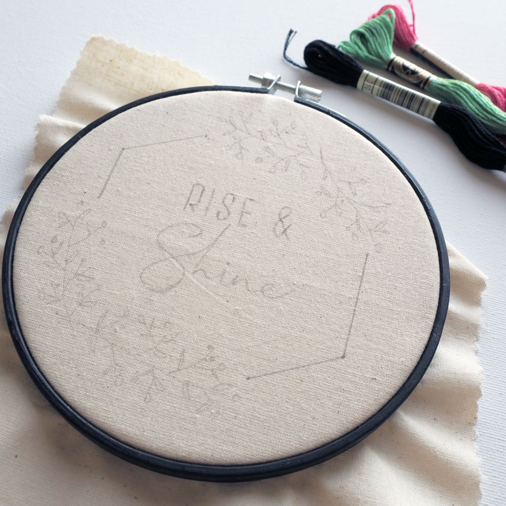 Embroidery hoop sketching