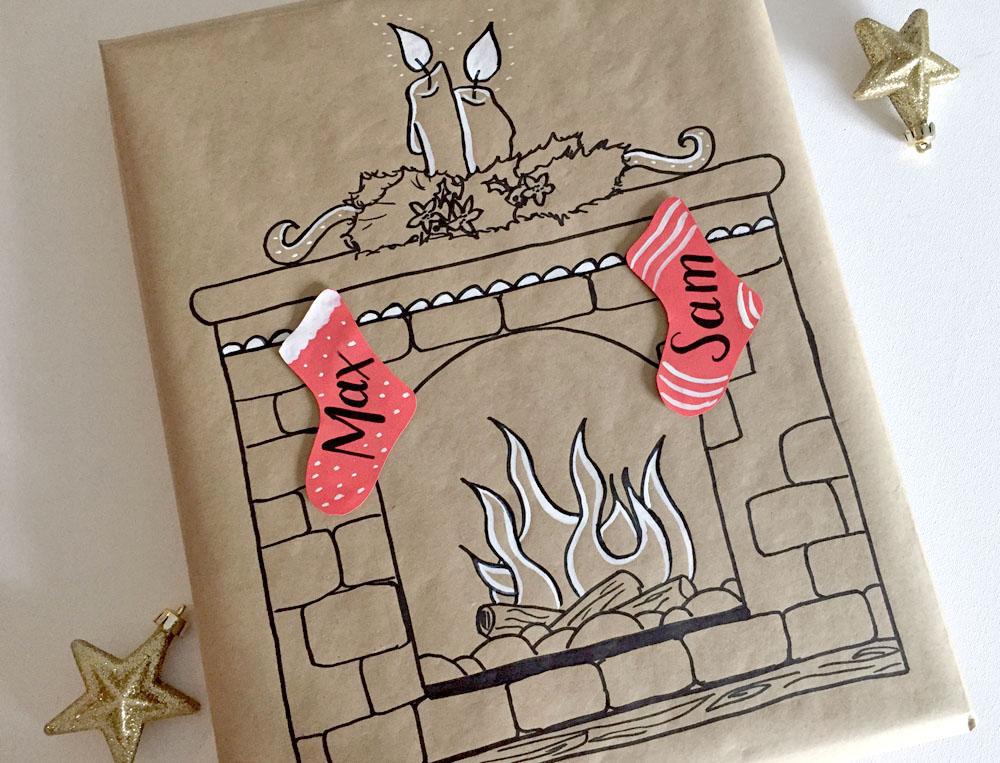 Handmade Christmas scene gift wrap